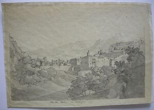 Vista Tortosa Catalunya Tarragona Tinta china acuarela 1860 Espana