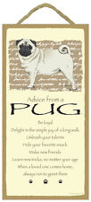 Advice From A PUG 10 x 5 Wood SIGN Plaque USA Made