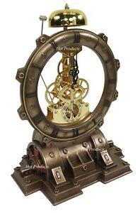 Generator Chiming Bell Gear Desktop Mantle Clock Statue Antique Bronze Finish