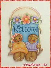HP Wooden Welcome Gingerbread Sign, Lawn Decoration, Yard Art , Spring, Flowers