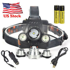 Rechargeable 11000lm Headlamp 3XXML T6+2R5 LED USB Headlight 2x18650 Battery US