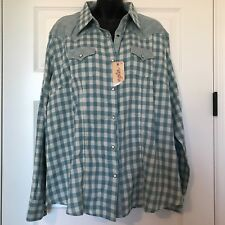 New Womens Wrangler Western Pearl Snap Green Teal Blouse XXL Checkered Gingham