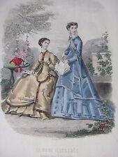 GRAVURE MODE 19e - MODE ILLUSTREE - TOILETTES MME FLADRY 1867  - GRAND FORMAT