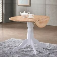 Round Dining Table Extendable Small Wooden Wood Kitchen Room Extending Leave