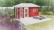 Saunahaus Außensauna Sauna Gartensauna 4.8x2.4M 45mm Oldenburg EB45004F28ISOL