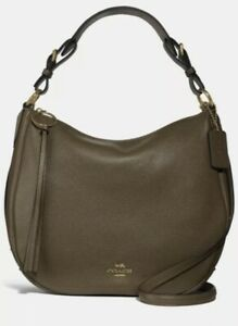 NWT Coach Leather Sutton Hobo Moss/Gold Shoulder Bag In Original Packaging