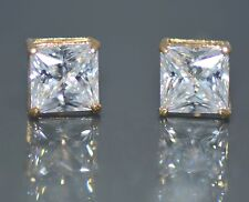 Square Lab Diamond Princess Cut Screw Back Stud Earrings 2TCW 14K Yellow Gold