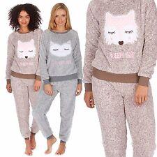 5f092903fd Ladies Snuggle Fleece Two Tone Pyjamas Twosie PJs Fox Owl Thermal Soft  34B429