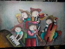 J Roybal Children Playing Instruments Oil Painting