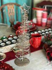 "Tall Golden Wire Christmas Tree With Beads and Glitter 16"" Pier 1  NWT"