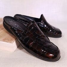 Mephisto Cool Air Womens Brown Croc Mules Patent Leather Clogs Size 8 M