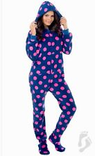 NWT Navy Pink Hooded Footed Pajamas 1 PC Polka Adult Hoodie MP/W Fit Size 20/22W