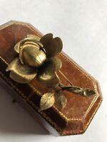 Vintage Signed Amerik Rose Detailed Brooch