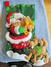 Santa with Pets Christmas Felt Stocking