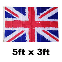 *RETRO LOOK*  5X3FT UNION JACK FLAG GREAT BRITAIN RED WHITE BLUE VE DAY ENGLAND
