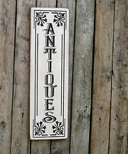 ANTIQUES vertical wood sign