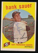 1959 Topps #404 HANK SAUER (New York Giants) d.2001 *AUTOGRAPHED*