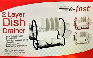 Kitchen 2-Tiers Dish Drainer Rack Plate Bowl Cutlery Sink Tool Holder Dry Stand