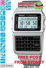 CASIO WATCH DATABANK VINTAGE RETRO DBC-611-1DF DBC611 DBC-611-1 WARRANTY