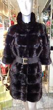 GORGEOUS Black RANCH MINK FUR Trench Coat Horizontal Design $11,000.