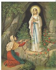 Catholic Print Picture Mary - Our Lady of Lourdes & St. Bernadette 8x10""