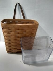Longaberger Tall Wall Hanging Mail Basket Leather Handle Liner 9x5x10