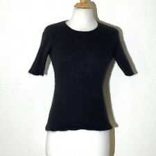 Sutton Studio Womens Sweater Ps Black Angora Rabbit Hair S/S Sweater Round Neck