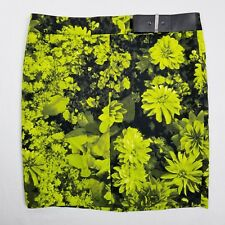 Michael Kors Floral Pencil Skirt Womens Size 16 Lime Green Black Lined