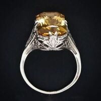 New Luxurious Natural Citrine Gemstone 925 Sterling Silver Yellow Crystal Ring