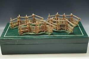 1997 COLONIAL WILLIAMSBURG SET OF 4 SPLIT RAIL FENCES WISE AND LANG MIB