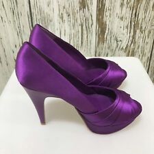 Purple Carvela Platform Satin Ruched Peep-toe Stiletto Heels EU Size 37 UK 4