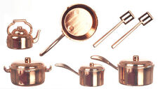 10 pc Copper Coloured Kitchenware Pots & Pans, Dolls House Miniatures