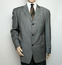 New Strellson Mens Suit Jacket Grey Super 100 Wool Single Breasted 46 Long