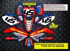 2005 - 2014 HONDA CRF 450X DIRT BIKE GRAPHICS KIT FACTORY: RED / BLUE DECALS
