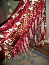 VINTAGE 1940'S OOAK RAYON SATIN TIE SKIRT WITH ONE SALVADOR DALI TIE REDS S M L