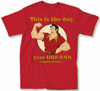 Disney Beauty and the Beast Gaston Dreams Come True Red Men's T-Shirt New