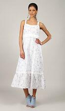 Superbe Robe Longue Imprimée  à Bretelles Liela Blanche Gris  L33 Taille 4 - 44