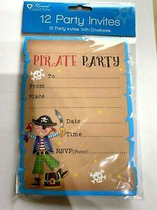 12pk INVITATIONS PIRATE PARTY INVITE CARDS birthday girl boy kids 12 envelope