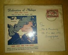 Malaysia Malaya 1958 ECAFE Asia & Far East Map  design FDC  1v Singapore Chop