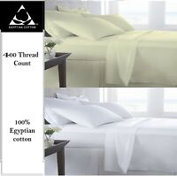 Fitted or Flat Sheet or Duvet Cover Set 400 Thread Count 100% Egyptian Cotton