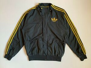 Mens Adidas Trefoil Recycled Windbreaker Jacket Size M Gray / Yellow Stripes