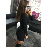 Womens Ladies Long Sleeve Bodycon Clubwear Party Slim Short Mini Pencil Dress