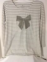 Talbots Womens Gray White Stripe 3/4 Sleeve Beaded Bow Top size Large