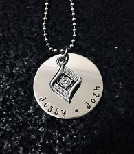 personalised hand stamped 32mm disc necklace + rhinestone charm on 60cm chain