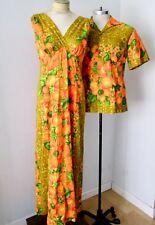 Vtg 60s Hawaiian Togs His & Hers barkcloth luau dress & shirt honeymoon set M