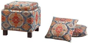 Square Storage Ottoman with Pillows1 Ottoman Decorative Pillows Seat Red