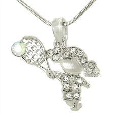 "TENNIS GIRL W Swarovski Crystal Sport Charm Love 18"" Chain Pendant Necklace Gift"