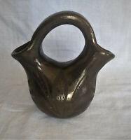Primitive Double Spout Black Thick Stoneware Jug Pitcher Vase With Handle Leaves