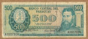 Paraguay 500 Guaranies (1963) Pick 200a sign Rivarola/Acosta RARE
