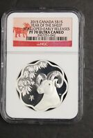 Canada 2015 Silver $15 Year of the Sheep Scallop Shaped NGC Proof-70 UC PF70 1